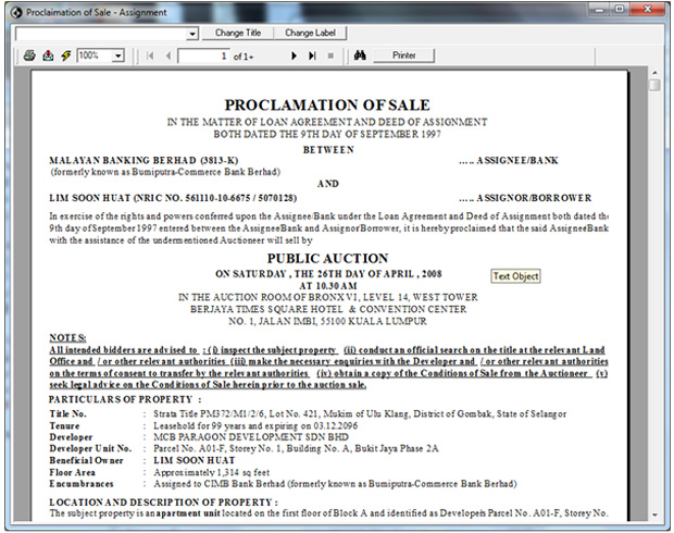 MyAuctionPro - Proclamation of Sales